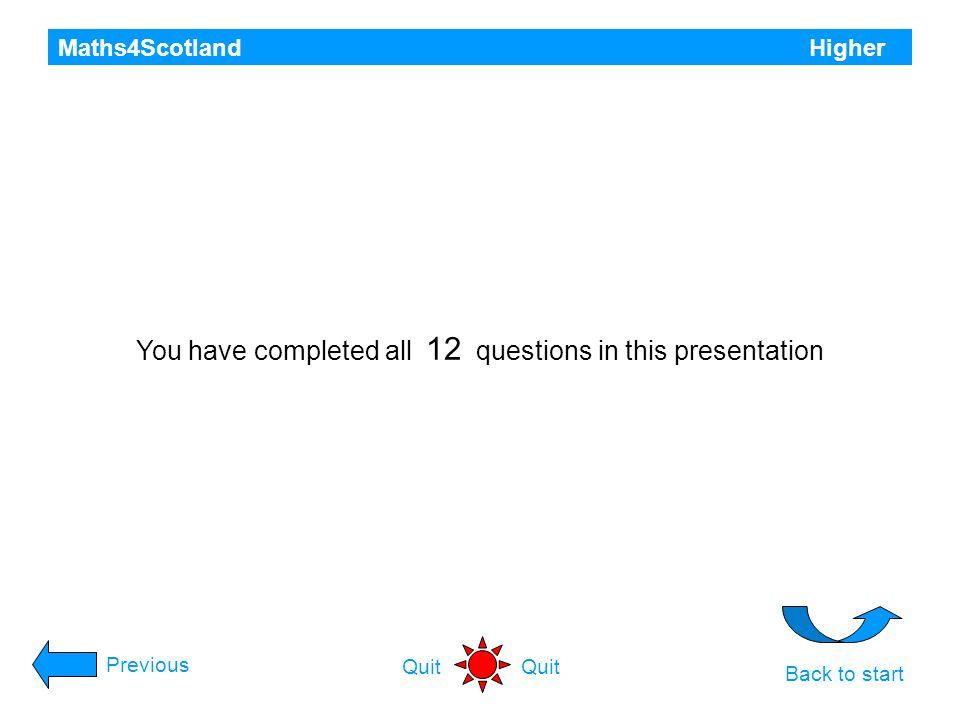 You have completed all 12 questions in this presentation