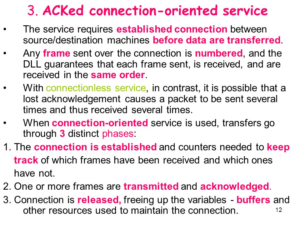 3. ACKed connection-oriented service
