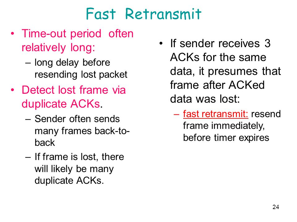 Fast Retransmit Time-out period often relatively long: