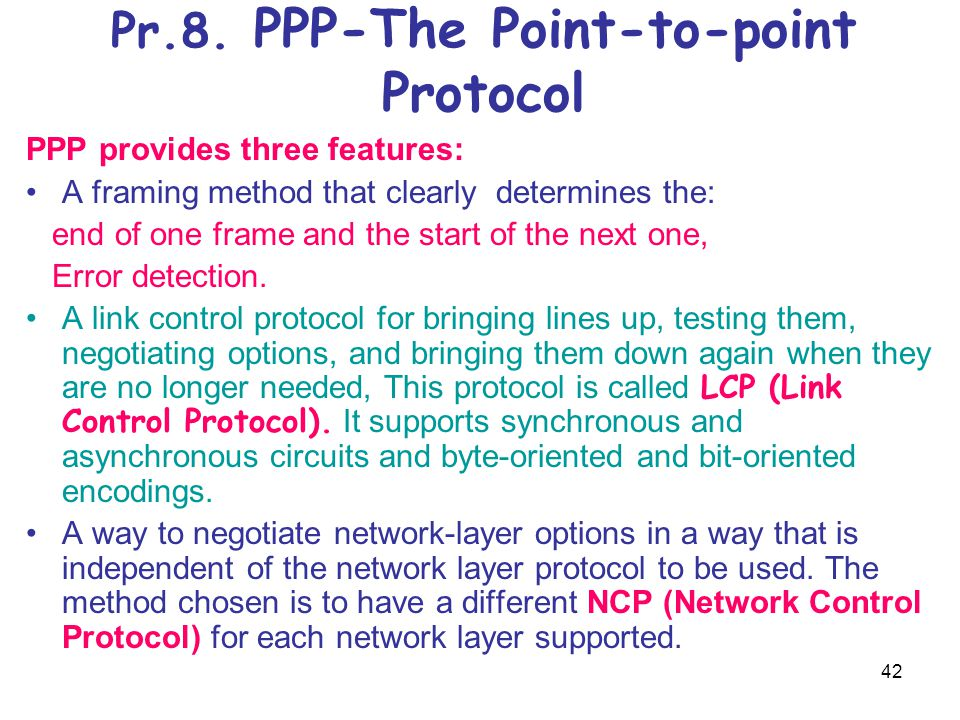 Pr.8. PPP-The Point-to-point Protocol