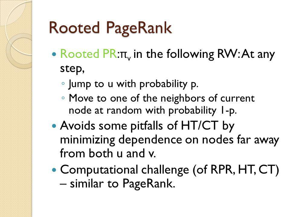 Rooted PageRank Rooted PR:πv in the following RW: At any step,