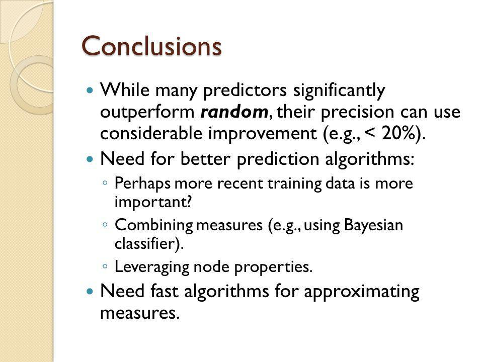 Conclusions While many predictors significantly outperform random, their precision can use considerable improvement (e.g., < 20%).