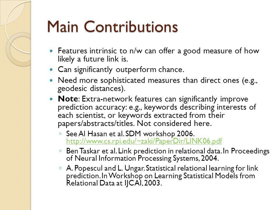 Main Contributions Features intrinsic to n/w can offer a good measure of how likely a future link is.