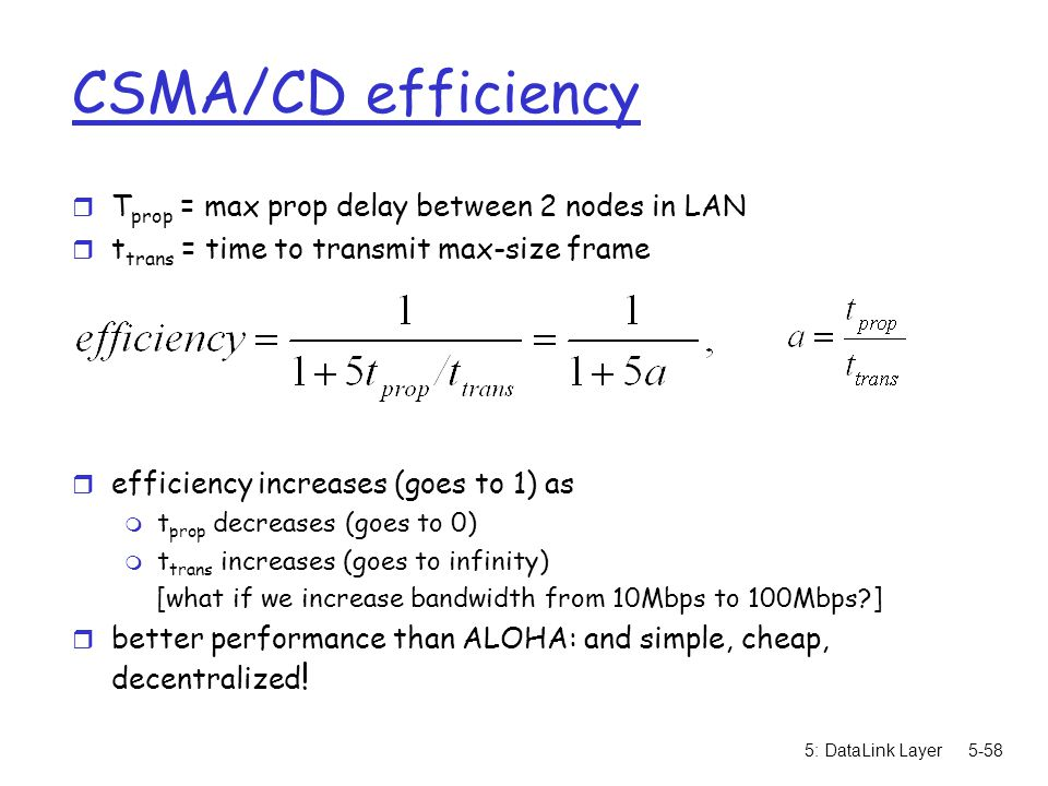 CSMA/CD efficiency Tprop = max prop delay between 2 nodes in LAN