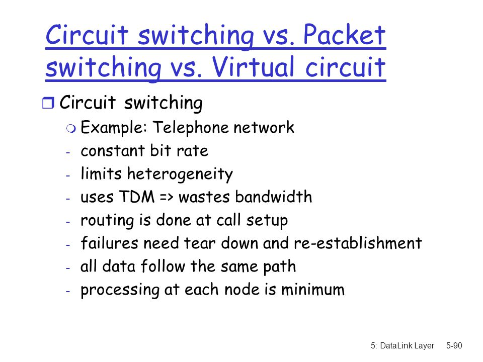 Circuit switching vs. Packet switching vs. Virtual circuit