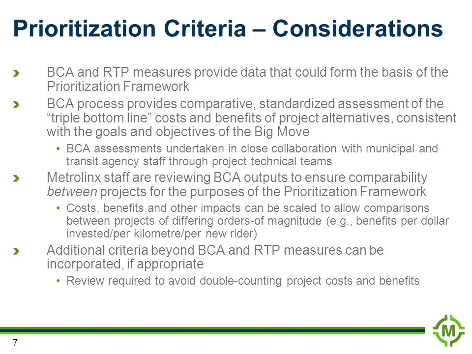 Prioritization Criteria – Considerations
