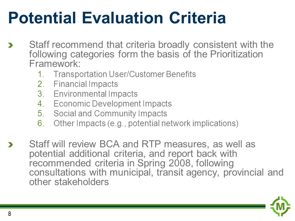 Potential Evaluation Criteria