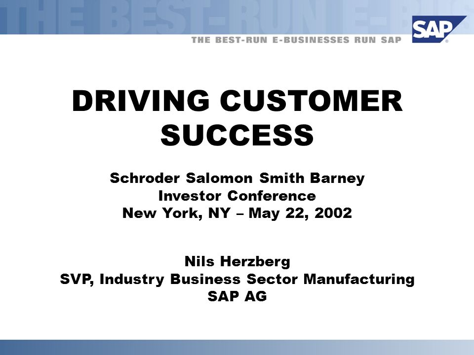 DRIVING CUSTOMER SUCCESS