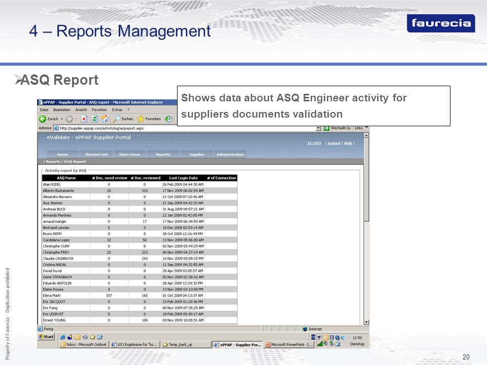4 – Reports Management ASQ Report