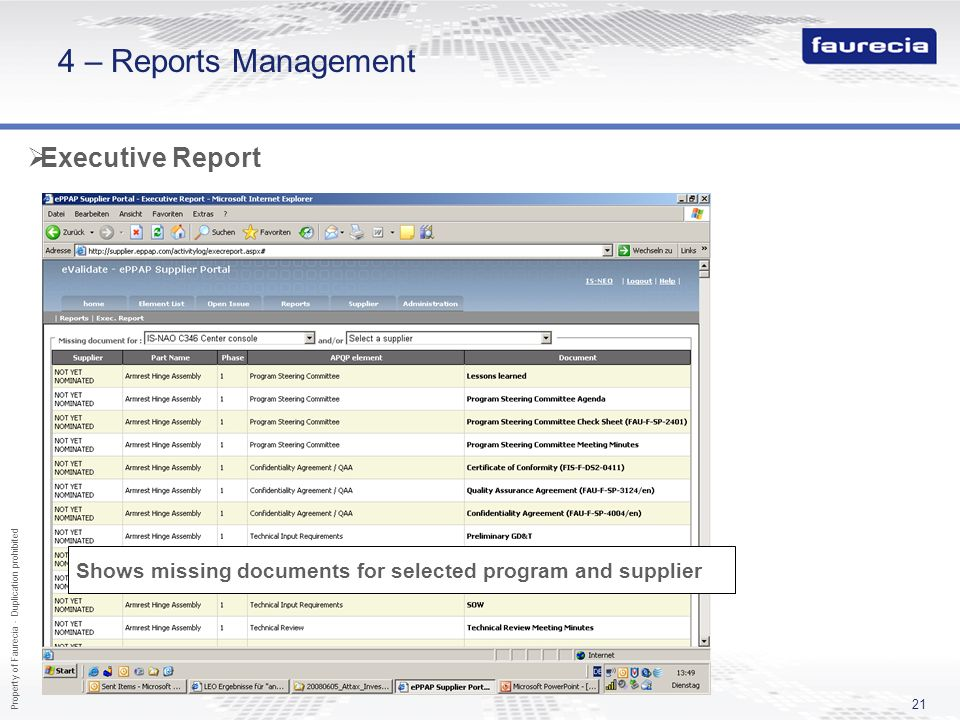 4 – Reports Management Executive Report