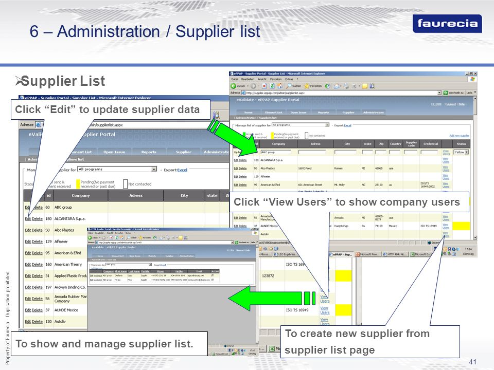 6 – Administration / Supplier list