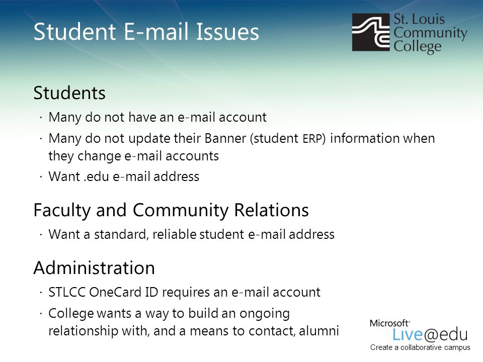 Student E-mail Issues Students Faculty and Community Relations