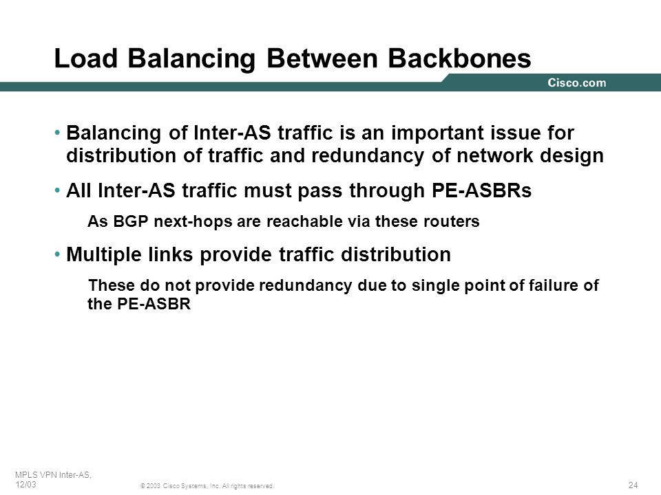 Load Balancing Between Backbones