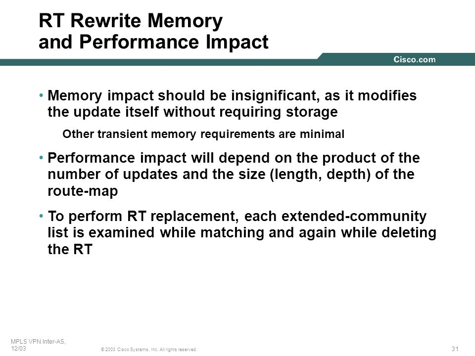 RT Rewrite Memory and Performance Impact