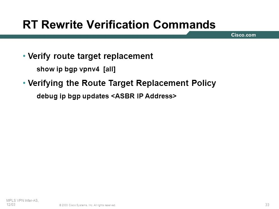 RT Rewrite Verification Commands
