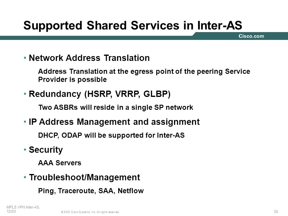 Supported Shared Services in Inter-AS