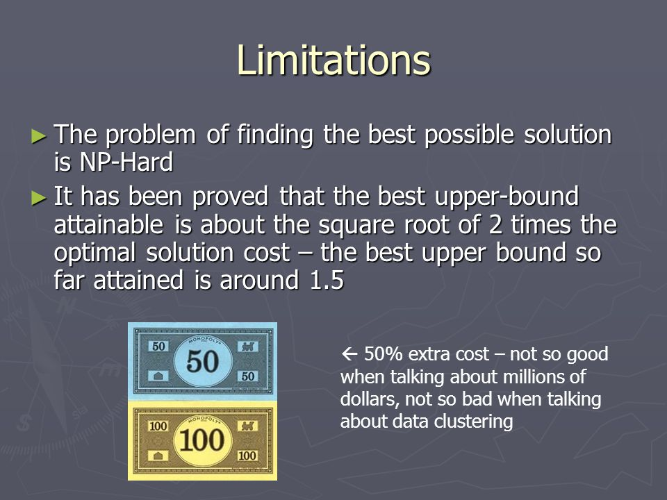 Limitations The problem of finding the best possible solution is NP-Hard.