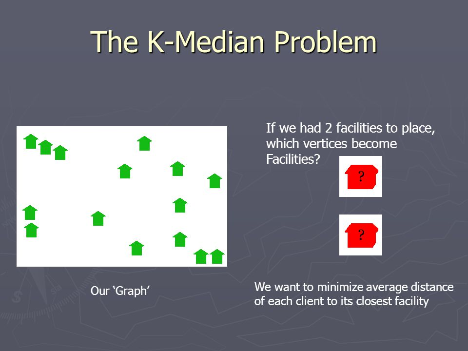 The K-Median Problem If we had 2 facilities to place, which vertices become Facilities