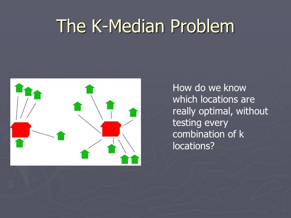 The K-Median Problem How do we know which locations are really optimal, without testing every combination of k locations