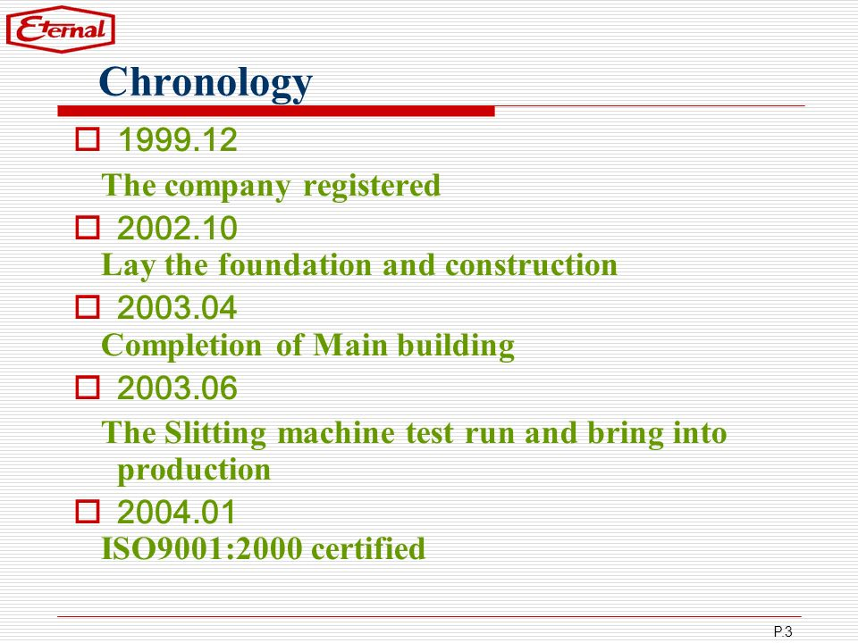 Chronology 1999.12 The company registered 2002.10