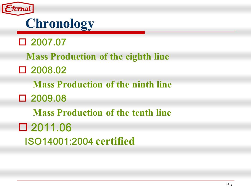 Chronology 2011.06 ISO14001:2004 certified 2007.07