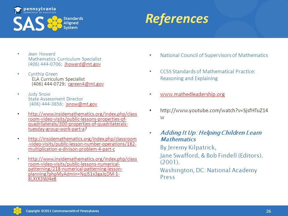 References National Council of Supervisors of Mathematics