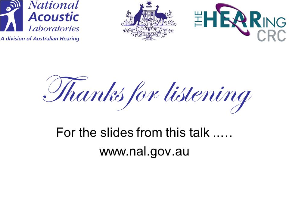 For the slides from this talk ..… www.nal.gov.au