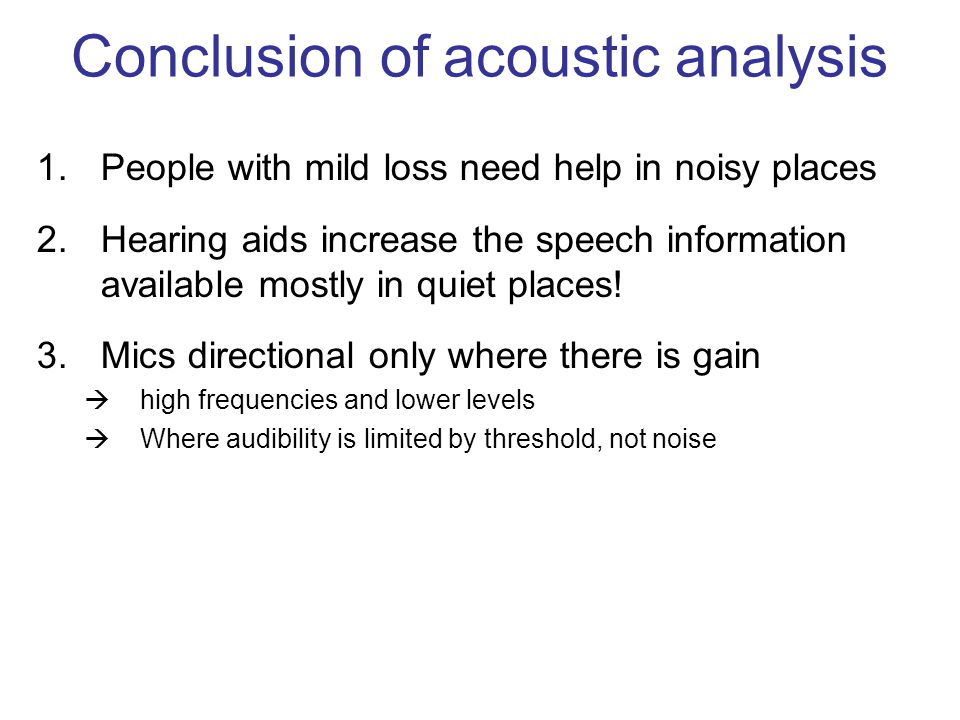 Conclusion of acoustic analysis