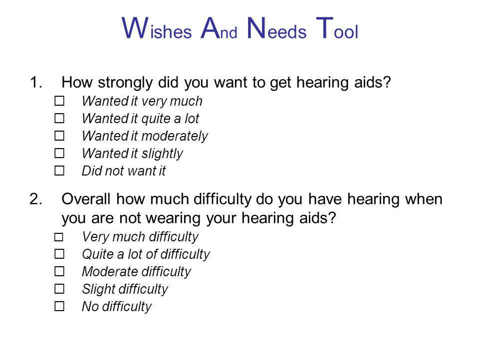 Wishes And Needs Tool How strongly did you want to get hearing aids