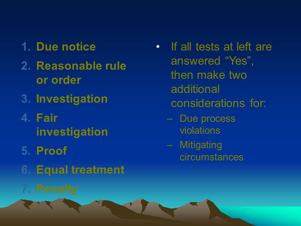 Reasonable rule or order Investigation Fair investigation Proof