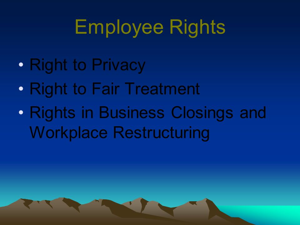 Employee Rights Right to Privacy Right to Fair Treatment