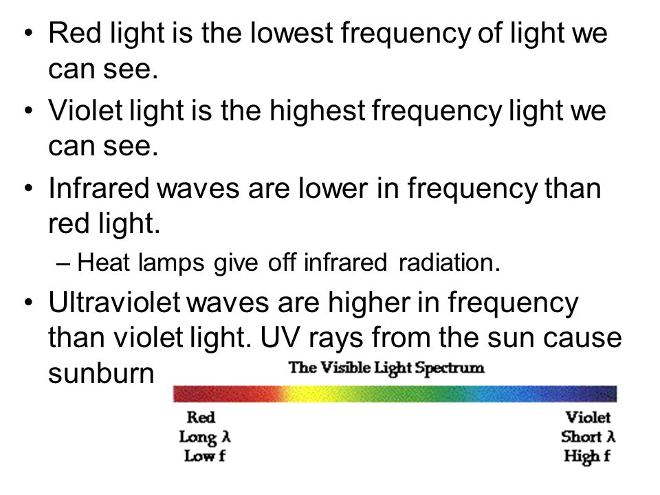 Red light is the lowest frequency of light we can see.
