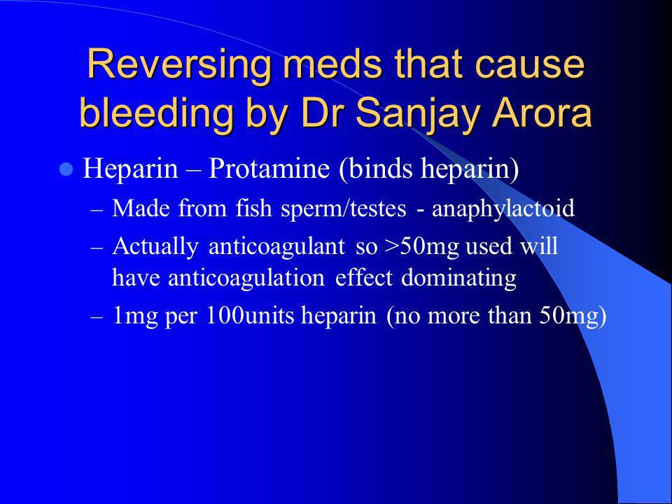 Reversing meds that cause bleeding by Dr Sanjay Arora