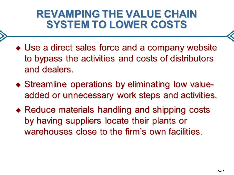 REVAMPING THE VALUE CHAIN SYSTEM TO LOWER COSTS
