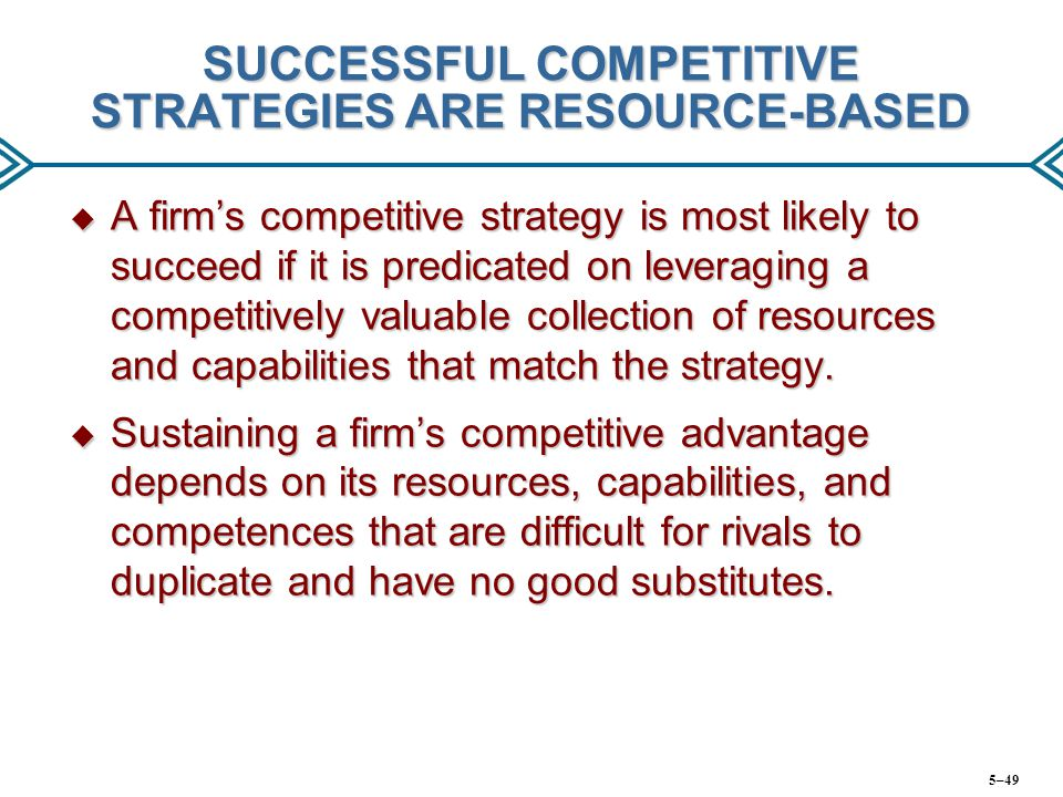 SUCCESSFUL COMPETITIVE STRATEGIES ARE RESOURCE-BASED