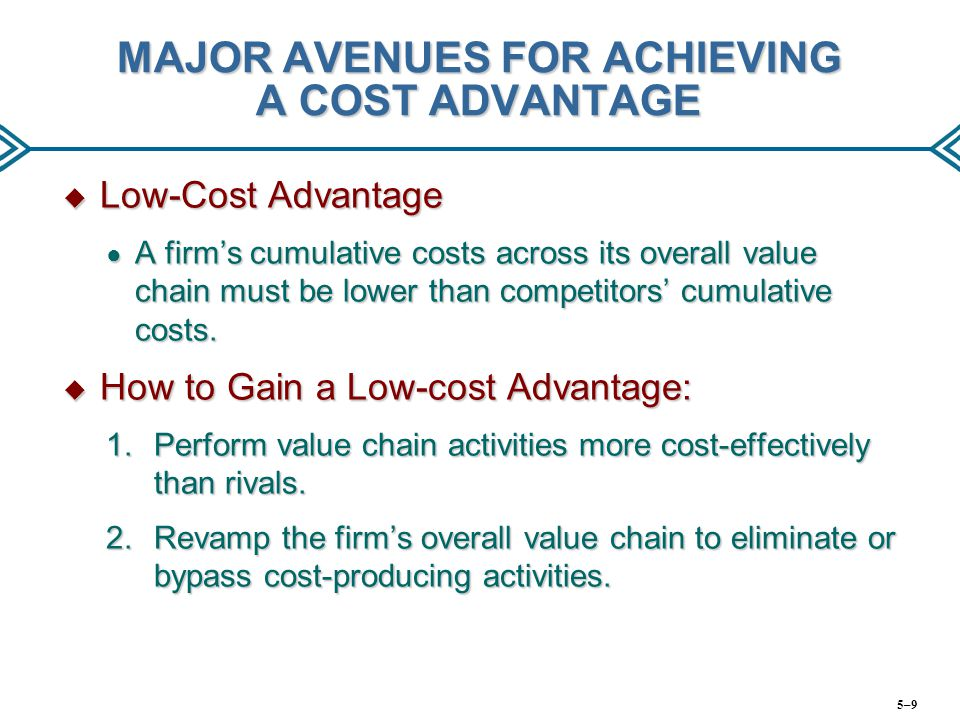 MAJOR AVENUES FOR ACHIEVING A COST ADVANTAGE