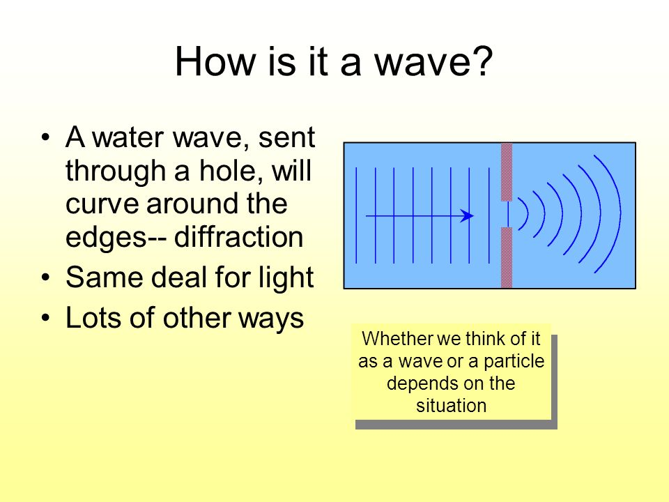 How is it a wave A water wave, sent through a hole, will curve around the edges-- diffraction. Same deal for light.
