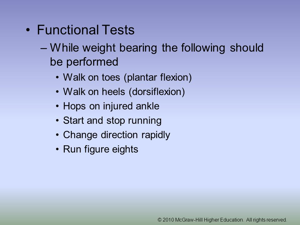 Functional Tests While weight bearing the following should be performed. Walk on toes (plantar flexion)