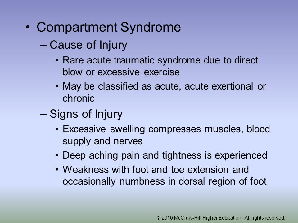 Compartment Syndrome Cause of Injury Signs of Injury