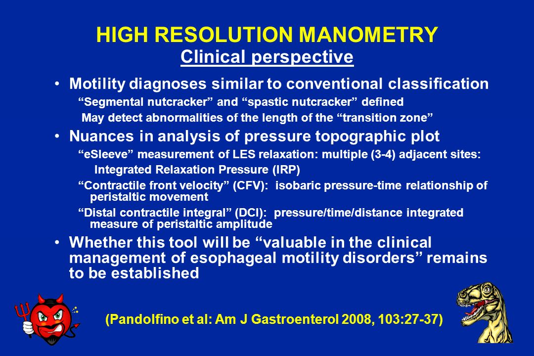HIGH RESOLUTION MANOMETRY Clinical perspective