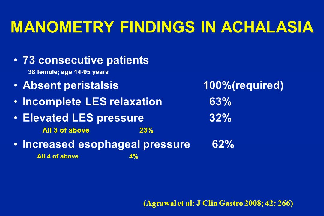 MANOMETRY FINDINGS IN ACHALASIA