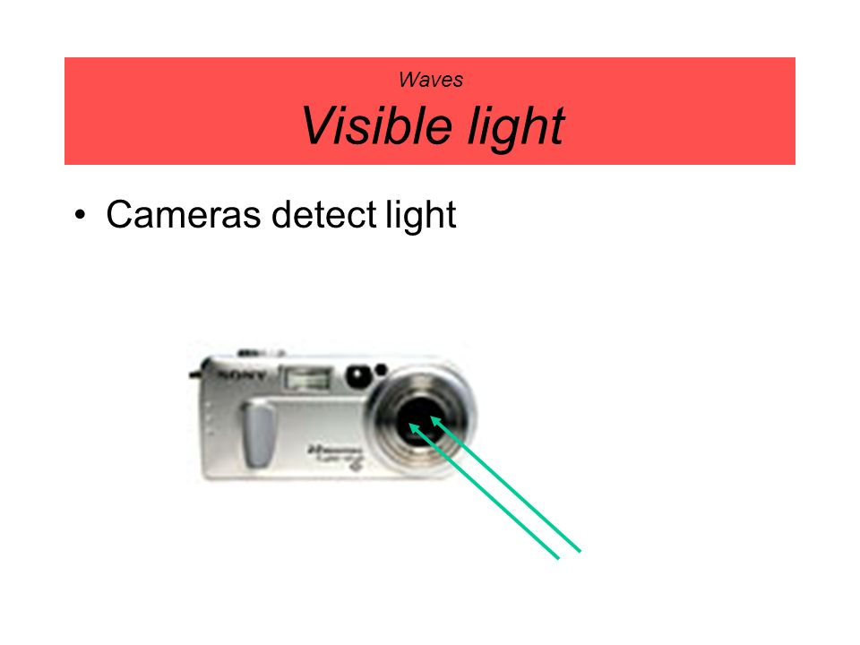 Waves Visible light Cameras detect light