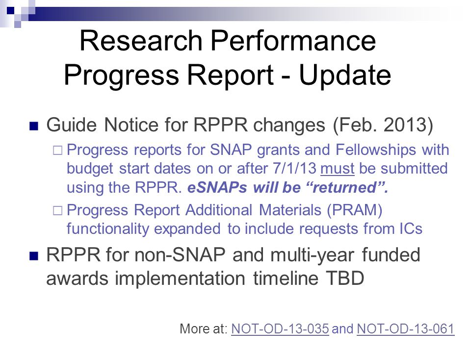 Research Performance Progress Report - Update