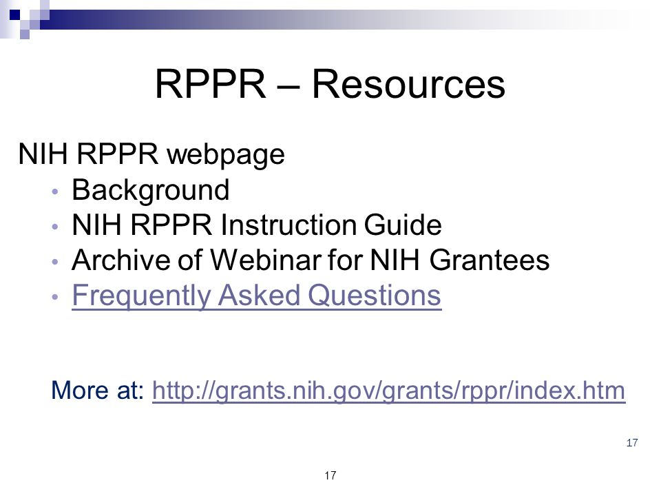 RPPR – Resources NIH RPPR webpage Background