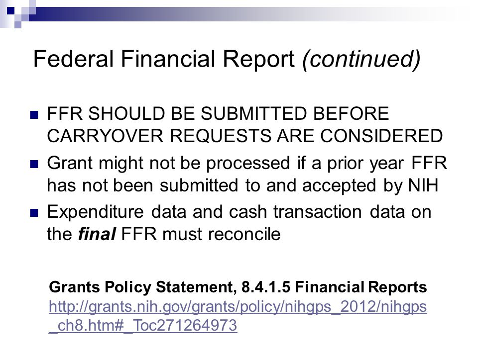Federal Financial Report (continued)
