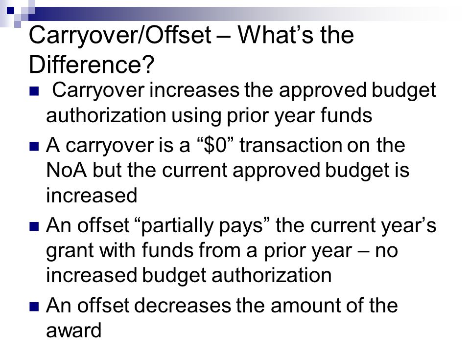 Carryover/Offset – What's the Difference