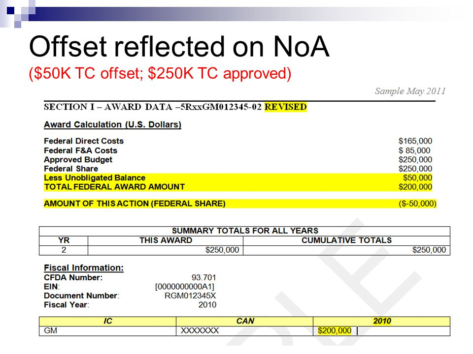 Offset reflected on NoA ($50K TC offset; $250K TC approved)
