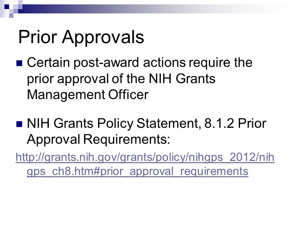 Prior Approvals Certain post-award actions require the prior approval of the NIH Grants Management Officer.