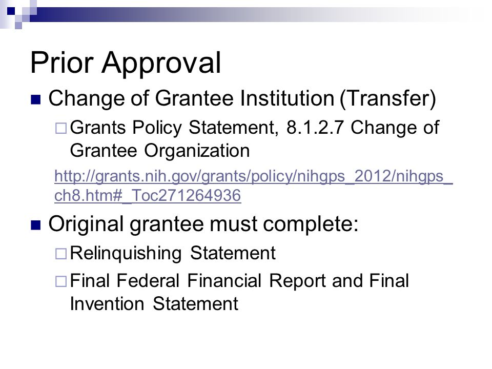 Prior Approval Change of Grantee Institution (Transfer)