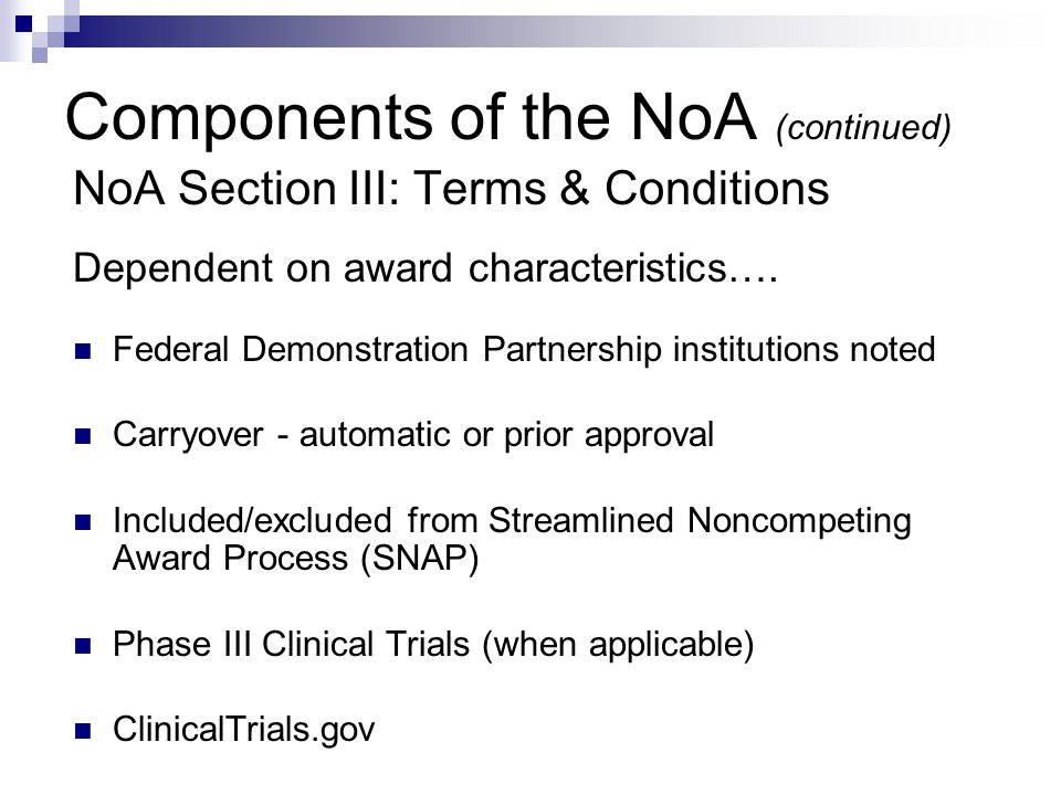 Components of the NoA (continued)
